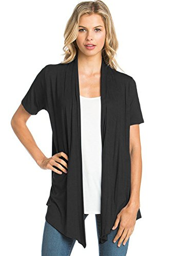 12 Ami Basic Solid Short Sleeve Open Front Cardigan Black 2X,XX-Large