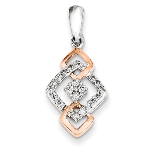 Argent Sterling et or Rose 14 carats Pendentif JewelryWeb Fashion diamants bruts