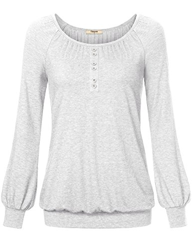 Plus Size Blouses for Women,Timeson Long Sleeve Crew Neck Ruched Front Button Blouse Shirts Light Grey (Fashion Bug Plus Size)