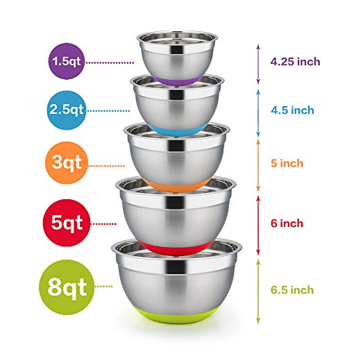 TeamFar Mixing Bowls Set of 5, Extra Large 8/5/3/2.5/1.5Qt, Stainless Steel Salad Bowl Metal Mixing Bowl Set with Non-slip Colorful Silicone Bottom, Healthy & Sturdy, Dishwasher Safe ()