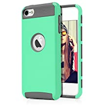 iPod Touch 6th Case, MagicMobile® Hard Shockproof Rubber Case for Apple iPod Touch 6 Gen Dual Layer Slim Armor Impact Shock Resistant Case for iPod Touch 6 / 6th Generation (Mint Green - Gray)