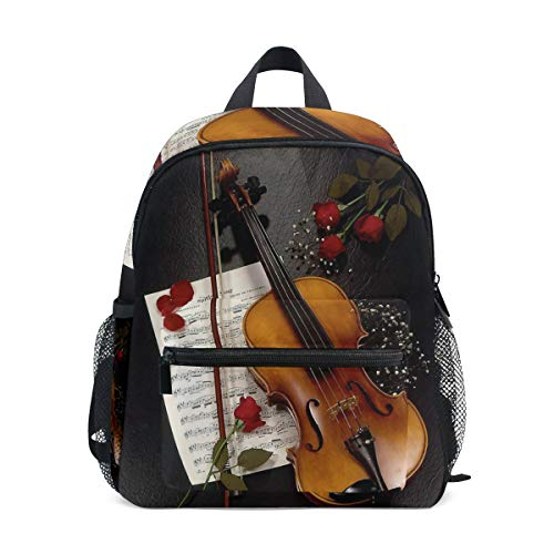 Vintage Violin Sheet Music Rose School Backpack Canvas Rucksack Large Capacity Satchel Casual Travel Daypack for Kids Girls Boys Children Students 3-8 Years Old]()