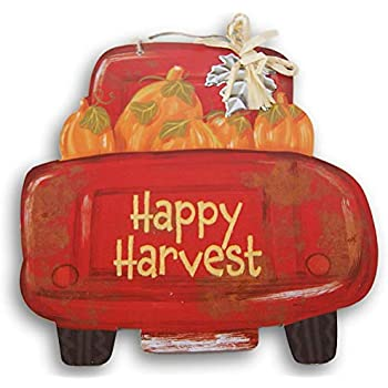 Autumn Decor Glitter Text Truck Shaped ''Happy Harvest'' Hanging Sign with Raffia Embellishment - Approximately 11 x 11 Inches (Red)