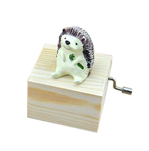 (PANDA SUPERSTORE Adorable Wooden Small Hedgehog Music Decoration Clockwork Music Boxes)