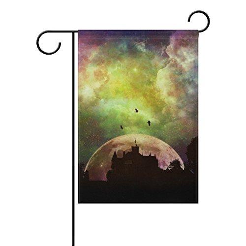 WIHVE Castle Nebula Star Field Moon Garden Flag Banner 28 x 40 Inch for Anniversary Seasonal Home Outdoor Garden Decor - Double Sided