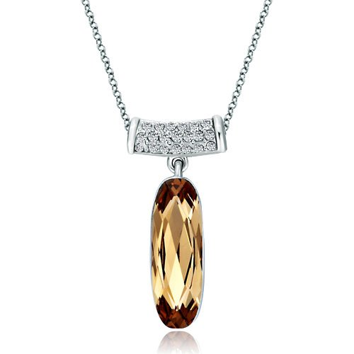Pugster Long Round Clear Swarovski Crystal Dangle Light Smoked Topaz Swarovski Crystal Oval Pendant Necklace -
