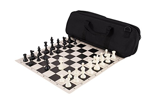 Deluxe Tournament Chess Set - Deluxe Chess Set Combination - Triple Weighted - by US Chess Federation (Black)