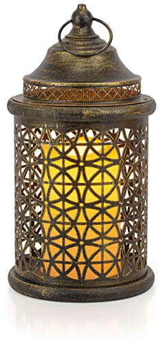 VP Home Decorative Flickering Flameless LED Candle Lantern with Remote Control (Rustic Brushed - Lanterns Gold