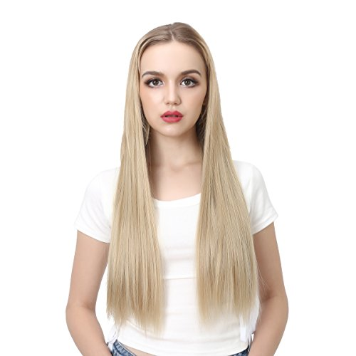 SARLA 24 180g Long Straight & Natural Wave Full Head U-part Hair Extension Clip in Hairpieces Heat-resistant Fiber UH16 & UH17