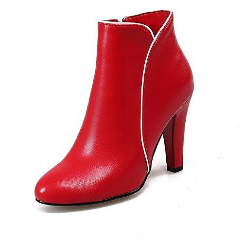 AllhqFashion Mujeres Puntera Redonda Tacón ancho Cremallera Dos tonos Botas Rojo