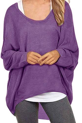 UGET Women's Sweater Casual Oversized Baggy Off-Shoulder Shirts Batwing Sleeve Pullover Shirts Tops Asia XXL Purple -