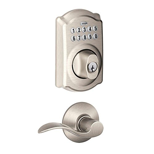 Camelot Satin Nickel Keypad Combo Pack with Accent Lever