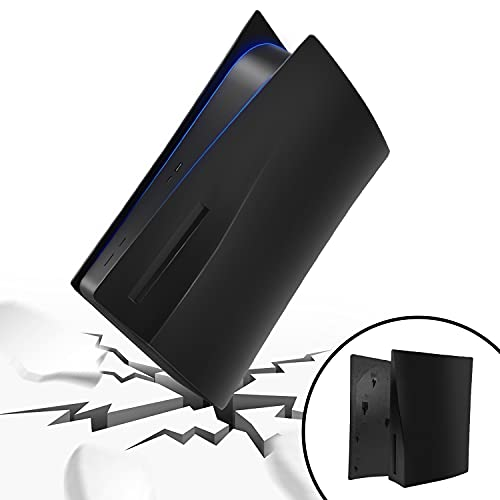 SOOKOM PS5 Cover for Console, Hard Replacement Panels Plate Shell for Playstation 5 Console Blu-Ray Edition, ABS Anti-Scratch Dust-Proof Protective Faceplate Case Accessories for PS5 (Black)