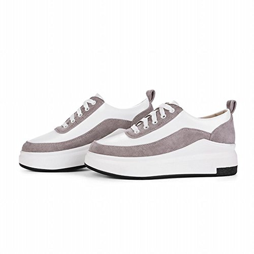 Charme Pied Femmes Confort Lace Up Chaussures Plate-forme Multicolore Gris Clair