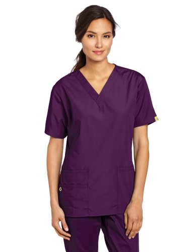 WonderWink Women's Scrubs Bravo 5 Pocket V-Neck Top, Eggplant, ()