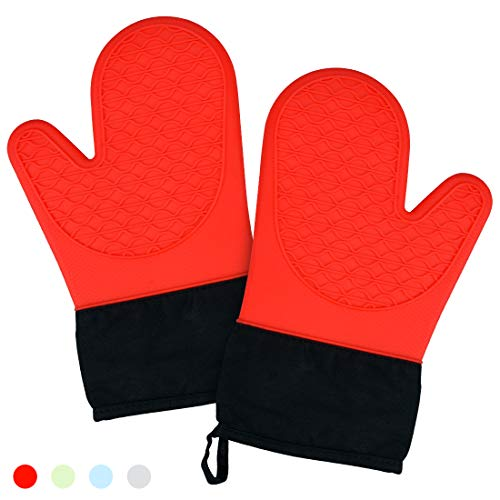 (Silicone Oven Mitts - High Heat Resistant Cooking Mitts with Quilted Cotton Liner 1 Pair Potholder Kitchen)