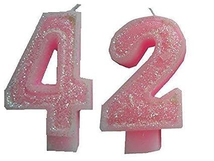 2 Piezas Vela de Cumpleaños con Derzahl 42