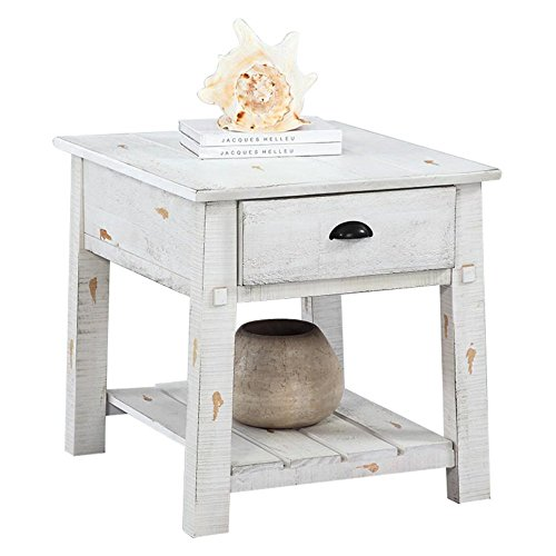 Progressive Furniture T410-04 Willow Rectangular End Table, White (Pewter Pine Pulls)