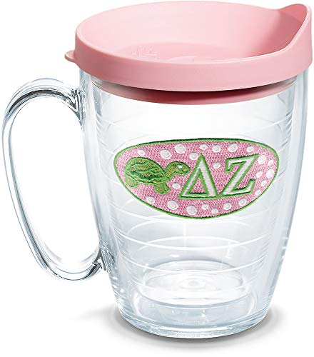 Tervis 1076408 Sorority - Delta Zeta Tumbler with Emblem and Pink Lid 16oz Mug, Clear
