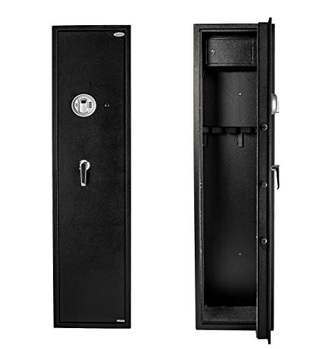 Quicktec Larger and Deeper Gun Safe, Quick Access 5-Gun Large Metal Rifle Safe Security Cabinet (with/Without Accessory) with Separate Lock Box (Larger and Deeper Rifle Safe-(Fingerprint))