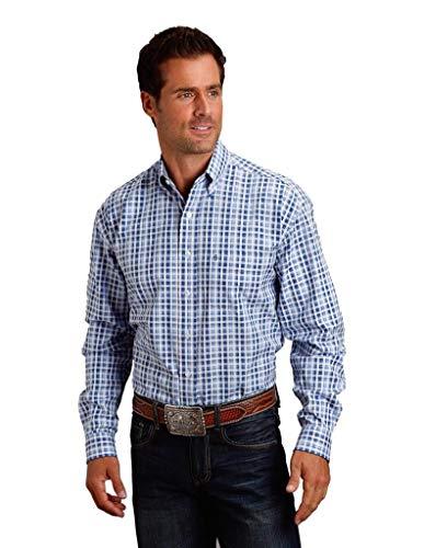 - Stetson Apparel Mens Plaid L/S Button Shirt M Blue