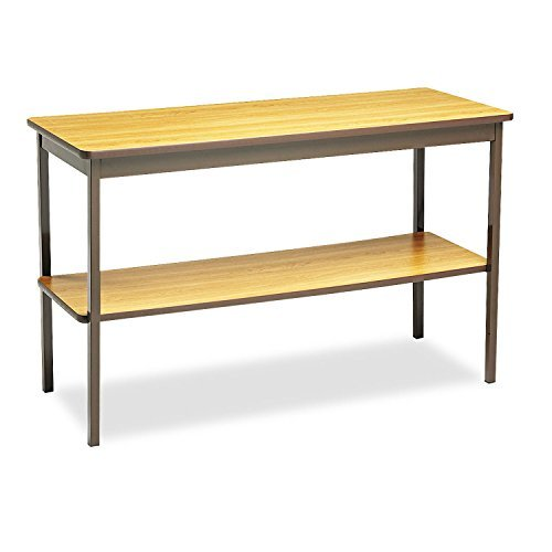 Barricks Utility Table With Bottom Storage Shelf Rectangle 48w x 18d x 30h Oak [並行輸入品] B07B772LJQ