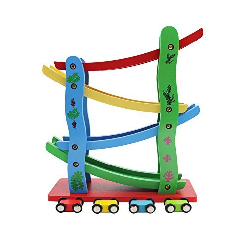 Maggift Ramp Racer,Wooden Ramp Car Toy for Kids, 4 Cars (Click Clack Track)