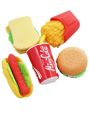 LoveInUSA Junk Food Theme Erasers Simulated Fast Food Rubber Set of 5,Cola Random Color