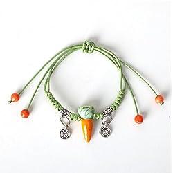 Winter's Secret Handmade Lovely Ceramic Carrot Green Weave Pendant Wrap Bracelet