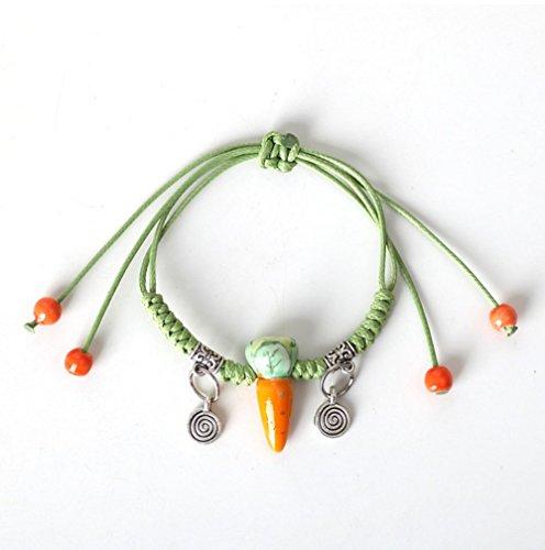 Winter's Secret Handmade Lovely Ceramic Carrot Green Weave Pendant Wrap Bracelet (Flash Rubber Wig)