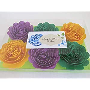 """Mardi Gras Theme Party Decorations, Set of 6 Green, Purple and Yellow 3"""" Roses, Handmade Paper Flowers, Always In Blossom Popular Floral Decor 2"""