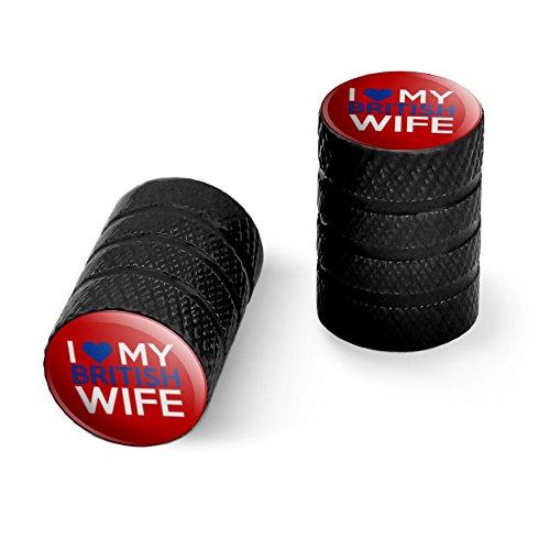 私は私の英国の妻を愛するオートバイ自転車バイクタイヤリムホイールアルミバルブステムキャップ - ブラック