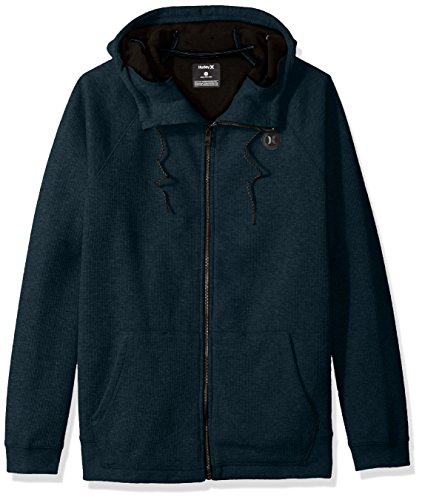 Hurley Men's Water Repellant Thermal Two Layer Zip up Hoodie, Heather Space Blue, XXL (Thermal Hoody Lined)