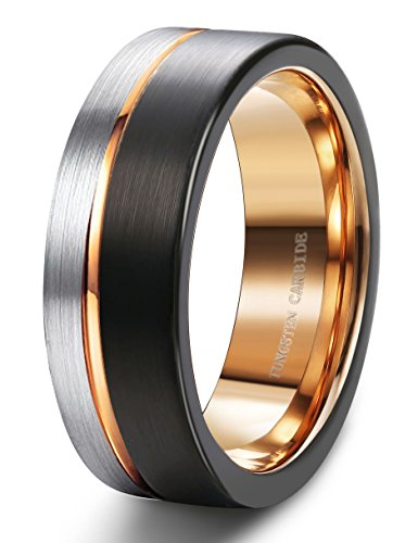 How To Clean Tungsten Carbide Rings - Tungary 8MM Tungsten Ring for Men Wedding Band Rose Gold Line Ring Black and Silver Brushed Size 7