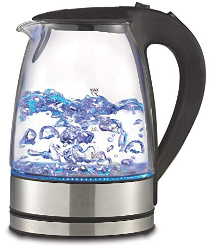 Precision Cordless Glass Electric Hot Water Tea Kettle Blue LED Stainless Steel BPA Free (1.7L Tea Kettle)