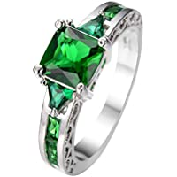 phitak shop Junxin Princess Cut Green Emerald Wedding Ring White Gold For Women Size 6-10 (8)