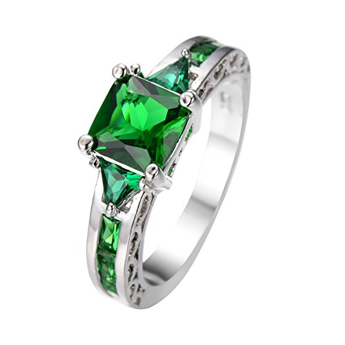 [Cosines Jewelry - Green Emerald Princess Cut CZ Engagement Ring White Gold Bridal Women's Wedding Party Size] (Good Guy Duo Costumes)