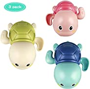 Baby Bath Toys Wind up Turtle Toys Multi-Colors Floating Toy Swimming Bathtub, Beach, Pool Playset for Kids To