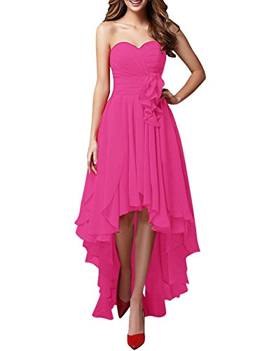 Fuchsia Chiffon Zipper (WEHOPS Women's Chiffon Sweetheart Hi-Lo Bridesmaid Dresses Evening Party Prom Gown US16 Fuchsia)