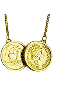f75a373bd1c69 Gold Plated Double Coin Necklace George & Dragon Sterling Silver ...