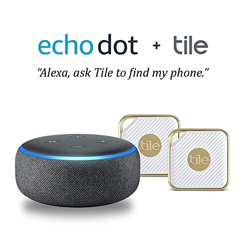 Echo Dot (3rd Gen) - Charcoal with Tile EC-11002 - 2-pack (Gold)