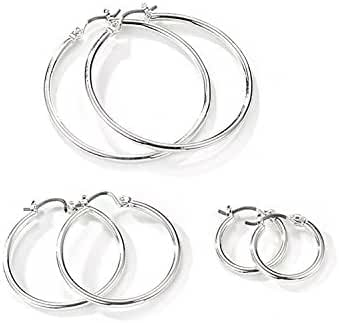 Neolgory Jewelry Silver Color Round Small Medium and Large Three Hoop Earrings Sets for Sensitive Ears