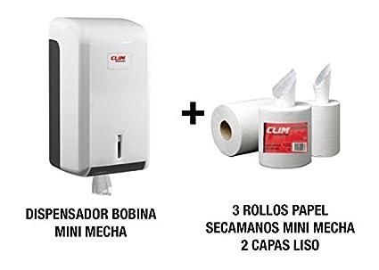 Dispensador de papel secamanos y 3 rollos de papel secamanos minimecha de 2 capas liso con