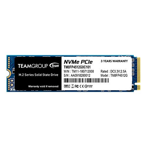 TEAMGROUP MP34 512GB NVMe PCIe M.2 2280 Solid State Drive SSD TM8FP4512G0C101 (Read/Write Speed up to 3,000/1,700 MB/s)