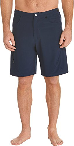 (Coolibar UPF 50+ Men's Tech Swim Trunks - Sun Protective (Large- Navy))