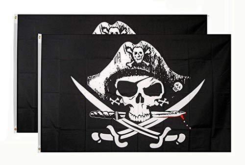(DANF 2 Pack Pirate Deadman's Chest Tricorner Flag Skull and Crossbones Jolly Roger 3 by 5 FT Polyester Flag Banner)