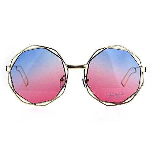 Hippie Groovy Octagonal Pimp Tie Dye Gradient Lens Sunglasses Blue - Dye Sunglasses Tie