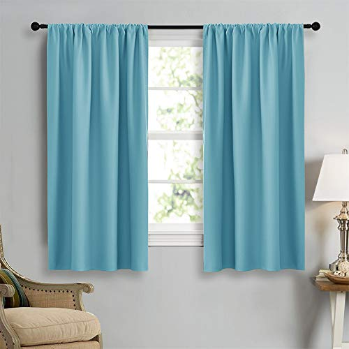 (NICETOWN Kitchen Window Blackout Curtain Panels - Energy Saving Window Covering Thermal Insulated Rod Pocket Drapes for Basement(Teal Blue, Set of 2 Panels,42 by 45 Inch)