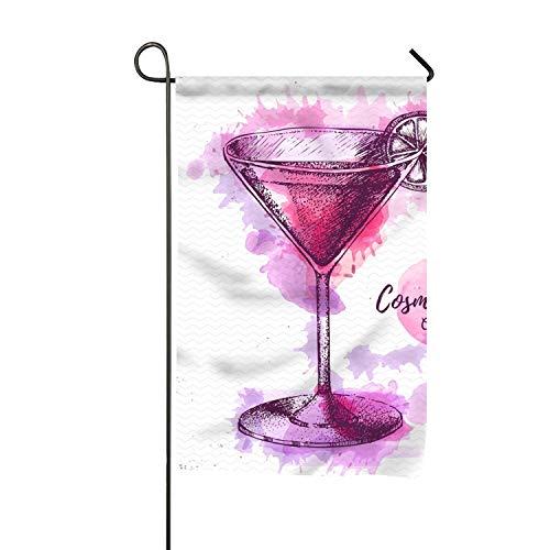 yyoungsell Decorative Flag Watercolor Cocktail Cosmopolitan Sketch Garden Flag for Party Holiday Outdoor Decor