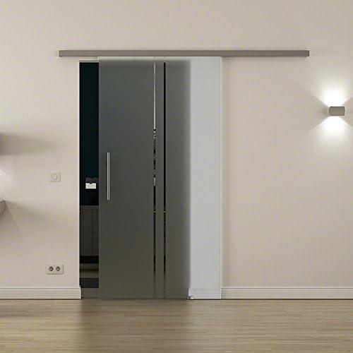 Cristal-puerta corredera para uso en interiores con cierre-sistema LEVIDOR - ancho cristal: 900 mm Altura: 2050 mm - Cristal: Vidrio de leche con 2 vertical rayas con barras de agarre de alta